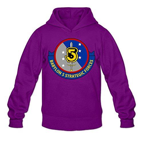 Caili Men's Babylon 5 1994 Logo Hooded Sweatshirts S Purple