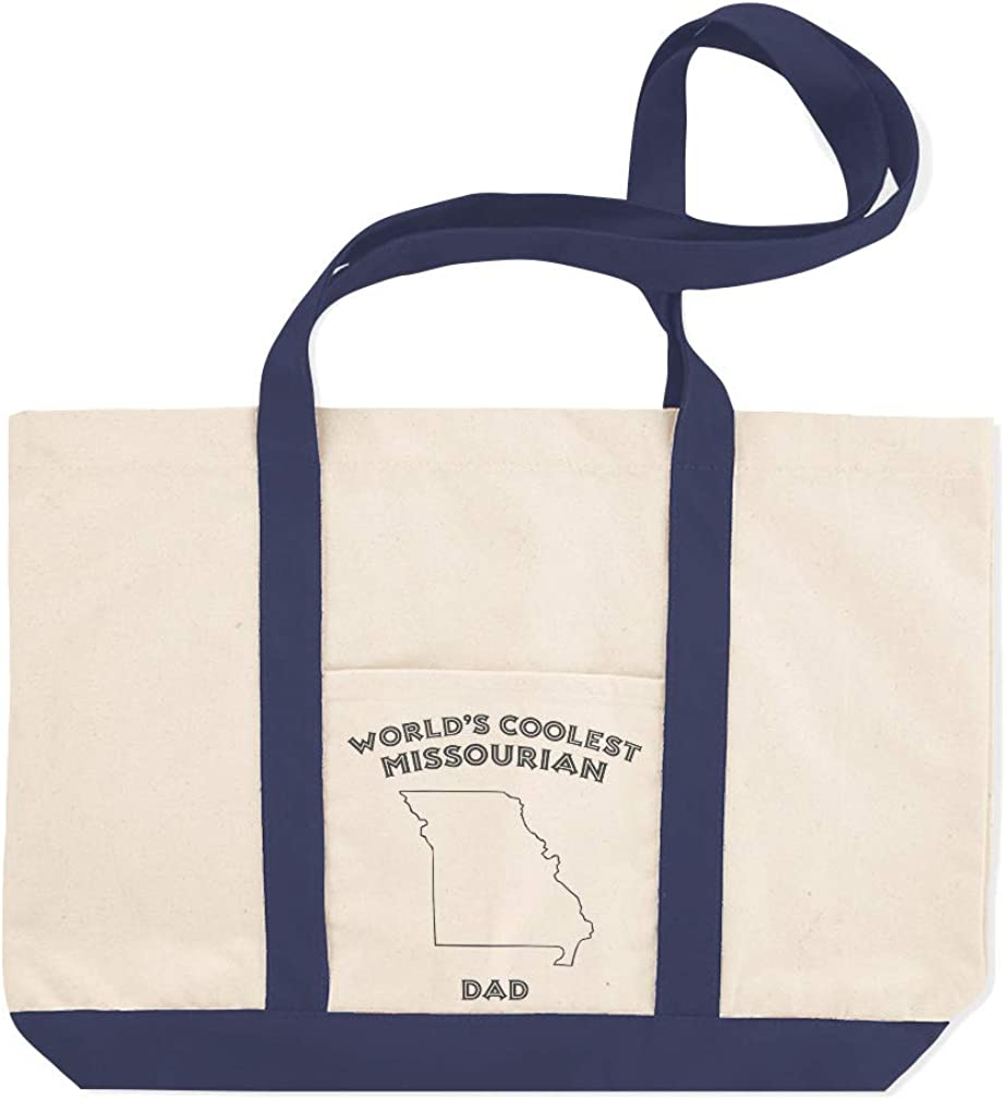 Canvas Shopping Tote Bag Worlds Coolest Missourian Dad Missouri Missouri Beach Bags for Women