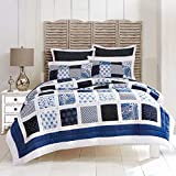 BrylaneHome Suma Patchwork Quilt - Blue White, King