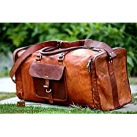 Leather Native 100% Piel Auténtica Duffel Gimnasio/deporte/viajes/Bolsa de cabina interior con forro de lona resistente y antiguo