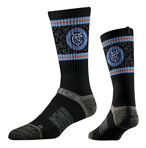 Strideline MLS New York City FC Premium Athletic Crew Socks, Black, One Size