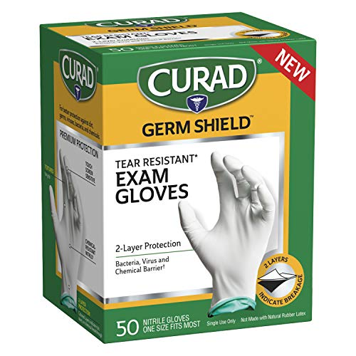 CURAD Germ Shield Nitrile Exam Gloves, Disposable Gloves are Tear Resistant, One Size Fits Most (50 Count), Can be used as medical gloves, cleaning gloves, or for home improvement tasks
