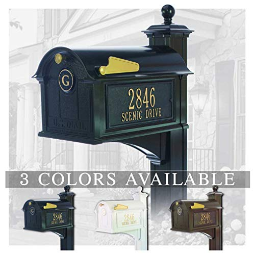 Personalized Whitehall Balmoral Mailbox with Side Address Plaques, Monogram & Post Package (3 Colors Available) -