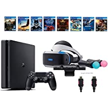 PlayStation VR Deluxe Bundle 12 Items:VR Start Bundle,Sony PS4 Slim 1TB Console - Jet Black,8 VR Game Disc Rush of Blood,Valkyrie,Battlezone,Batman,DriveClub,Eagle, RIGS,Resident Evil 7:Biohazard