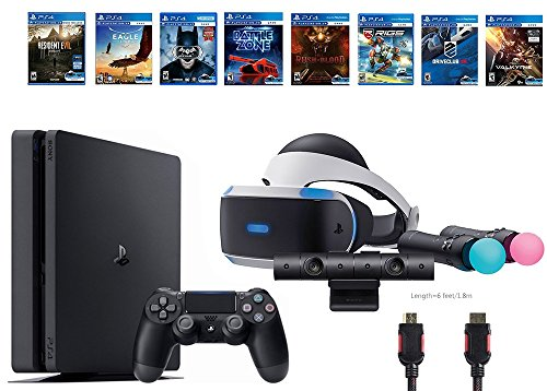 PlayStation VR Deluxe Bundle 12 Items:VR Start Bundle,Sony PS4 Slim 1TB Console – Jet Black,8 VR Game Disc Rush of Blood,Valkyrie,Battlezone,Batman,DriveClub,Eagle, RIGS,Resident Evil 7:Biohazard