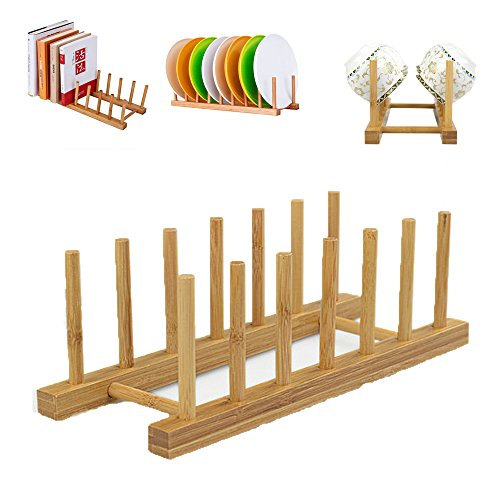 Sealive Bamboo Wooden Dish Rack Dishes Plate Drying Rack, Ho
