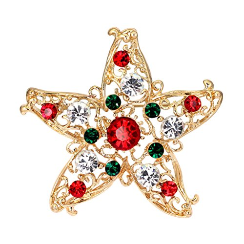 Haodeba 1 Piece Gorgeous Unisex Rhinestone Star Brooch Christmas Brooch Pin Party Favor Best Gift for Girls Women Ladies