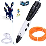 Longruner Intelligent 3D Pen with LED Display Compatible with PLA/ABS + 7-meter PLA Filament Refills + 40pcs Stencils Ebook for Crafting, Art & Model , Best DIY Gift for Creating Kids (3D pen)