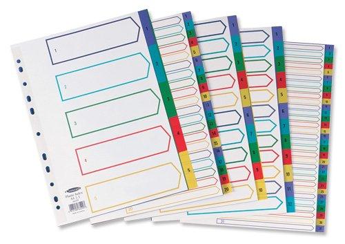 Separadores con /índcie multicolor numerados del 1 al 20, tama/ño A4, pl/ástico Concord 66599