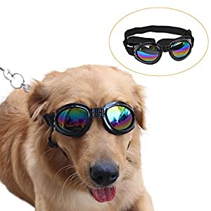 Top-Elecmart Pet Glasses Dog Sunglasses Dog Glasses Golden Retriever Samoyed Sunglasses Goggles Big Dog Eye Wear Protection (black)