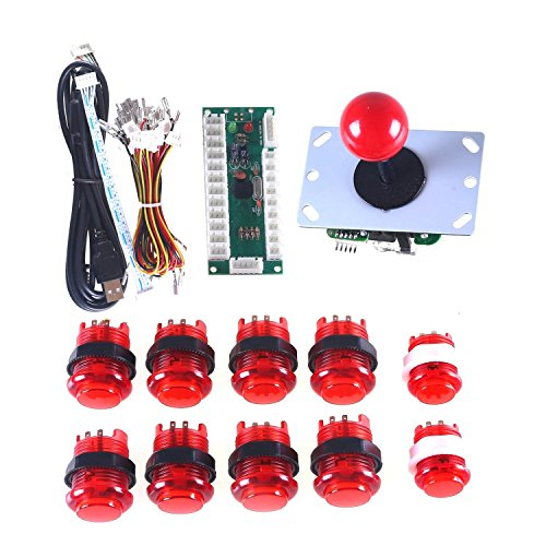 WINIT LED Arcade Game DIY Parts Zero Delay USB PC Joystick Interface + 1 X Red 5pin 8 Way Joystick + 10 X Ring-fixing Red LED Illuminated Push Button for Mama Jamma & Arcade Fighting Games