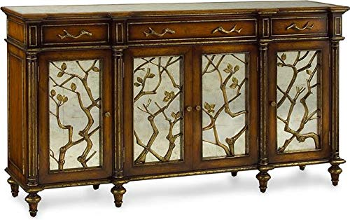 John Richard Buffet Branches English Pale Walnut Antique Gold Leaf Forged ()