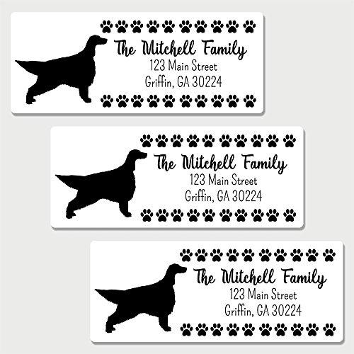 Labels Address Irish - 60 Personalized Irish Setter Themed Return Address Labels - Dog Themed Address Labels (AL17)
