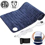 Heating Pad for Back Pain, Large Electric Heating Pad for Cramps Pain Relief, 6 Heat Settings with Auto Shut Off Timer, Moist Heat Therapy Pad for Neck, Shoulder, Knee, Machine Washable, 12 x 24 inch