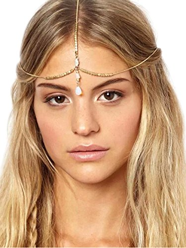 (Jovono Women's Head Chain for Women and Girls Headpieces With Water Drop Pendant)