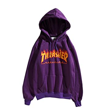 a7db57ebade05 Fashion Flame Hoodie Plus Velvet Sweater Hoodie Pullover for Men Women at  Amazon Men s Clothing store
