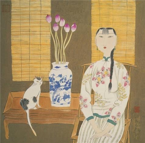 'Hu Yongkai,Seated Woman And A Cat,21th Century' Oil Painting, 10x10 Inch / 25x26 Cm ,printed On Perfect Effect Canvas ,this High Resolution Art Decorative Prints On Canvas Is Perfectly Suitalbe (Yongkai Asian Print)