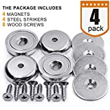 """DIYMAG Neodymium Round Base Magnet with Mounting Screws, Strong, Permanent, Rare Earth Magnets. DIY, Building, Scientific and Craft Pot Magnets, 1.26""""D x 0.3""""H, Pack of 4"""