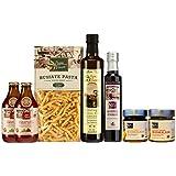 Papa Vince Gourmet Food Gift Set - farm fresh from artisans in Sicily, Italy. Extra Virgin Olive Oil, Balsamic Vinegar, Busiate Pasta, Tomato Sauce, Trapani Sea Salt, Orange & Lemon Marmalade