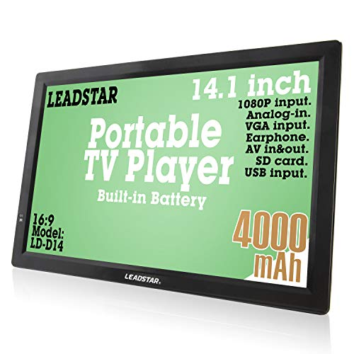 14 Inch Portable Digital ATSC TFT HD Screen Freeview LED TV for Car,Caravan,Camping,Outdoor or Kitchen.Built-in Battery Television/Monitor with Multimedia Player Support USB Card LEADSTAR