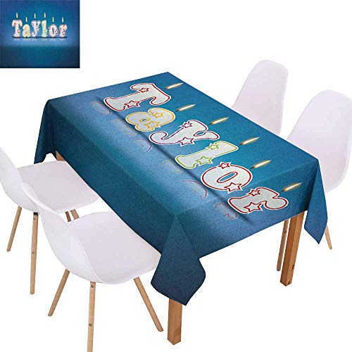 Rectangular Tablecloth Taylor Common Given Name in English Happy Occasion Candles Font Design on Blue Washable Tablecloth W60 xL102 Blue and Multicolor