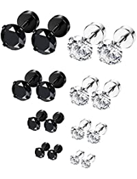 6-8 Pairs 18G Stainless Steel Ear Stud Piercing Barbell Studs Earrings Round Cubic Zirconia Inlaid