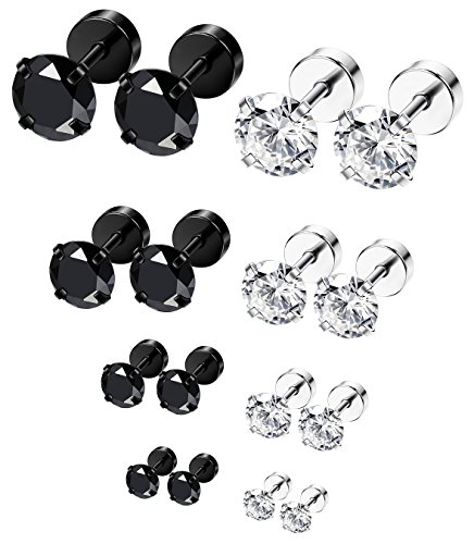 Surgical Steel Screw - ORAZIO 8 Pairs 18G Stainless Steel Ear Stud Piercing Barbell Studs Earrings Round Cubic Zirconia Inlaid