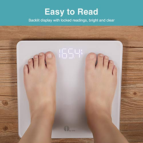 1byone Scales Digital Weight and Body Fat Scale Smart BMI Scale, Bluetooth Bathroom Scale Body Composition Analyzer Track 14 Key Compositions, 400lbs