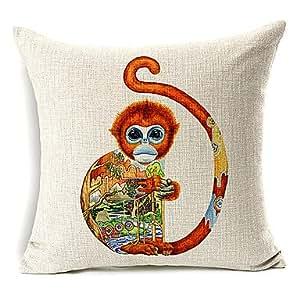 Vivid Mono Patrón de algodón/lino decorativo almohada cubierta