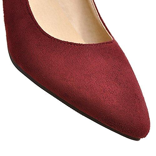 Allhqfashion Womens Frosted Solid Pull-on Closed-teen Kitten-hakken Pumps-schoenen Claret