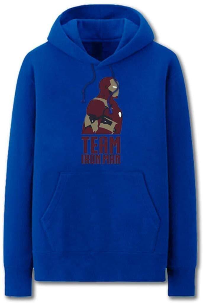 Blau XX-Large CZ-SQG BaumwollHoodie Super Hero Männer Iron Man Plus Velvet Hoodie Schwarz (Farbe   schwarz, Größe   X-Large)
