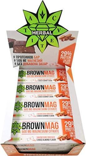 Cvetita Herbal Protein Bar BrownMag mit Mandeln und Schokolade, Magnesium angereichert, ohne Zuckerzusatz 12 х 60gr
