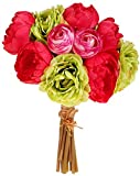 RAZ Imports Peony and Ranunculus Bunch - 11 inch (Green)