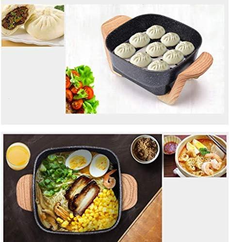 Grills électriques, friture électrique marmite marmite multi-fonctions marmite à bifteck grillé pot ménager mini-poêle à frire enfichable (avec plateau vapeur), rose