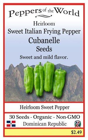 Cubanelle Pepper - Cubanelle - Sweet Italian Frying Pepper - 30 Seeds - Organic - Non-GMO