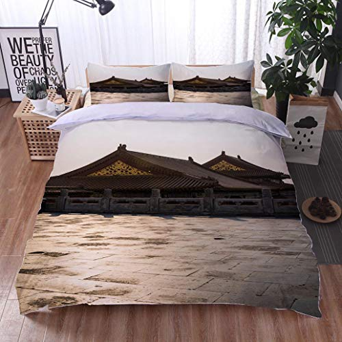 HOOMORE Bed Comforter - 3-Piece Duvet -All Season, Forbidden City Chinese Imperial Palace Beijing China,HypoallergenicDuvet-MachineWashable -Twin-Full-Queen-King-Home-Hotel -School