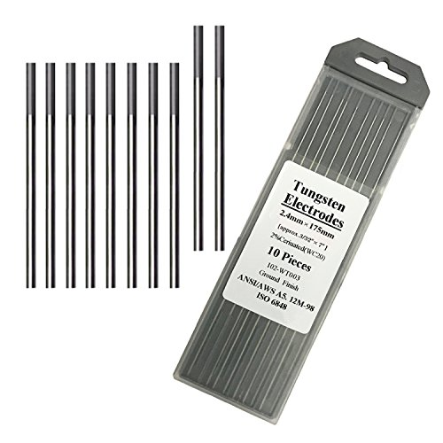 """Tungsten Electrodes for Tig Welding 2% Ceriated Welding Rods 3/32"""" x 7"""" 10-Pack Grey"""