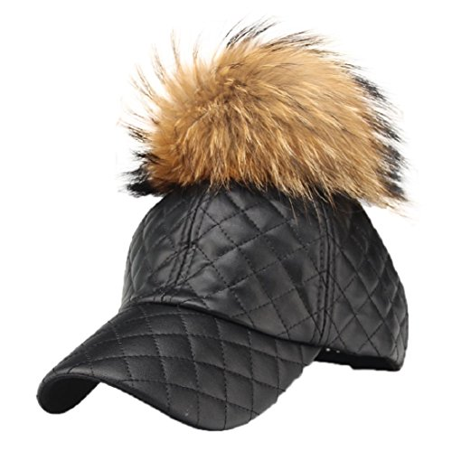 Fur Quilted Hat - YABINA Faux Quilted Leather Baseball Caps with Fur Pom Pom Outdoor Sports Hats Velcro Cap (Black)
