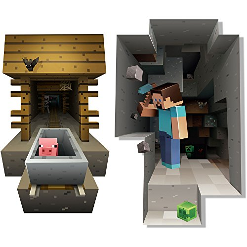 JINX Minecraft Wall Cling Decal Set Minecart Steve