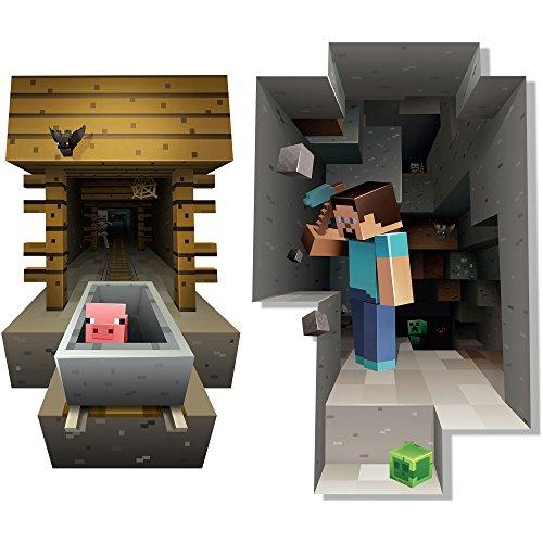 JINX Minecraft Wall Cling Decal Set (Minecart, Steve) -