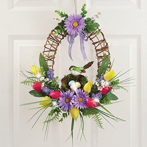 Lighted Spring Floral Wreath Multi