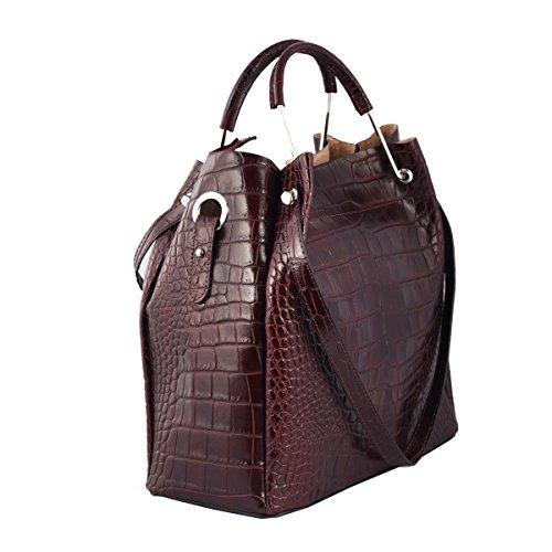 Italy Borgogna Borsa Vera Borsa In Pelle Toscana Made Rosso Donna A In Spalla Colore Pelletteria 0f04q7A