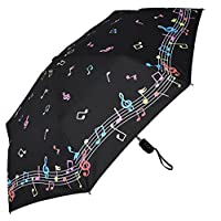 "RainStoppers Umbrella Auto Open/Close Changing Color Music Print, Black/White, 44"""