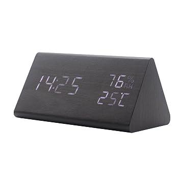 ES-BLUS Despertador/Led Despertador Digital/Reloj Multifunción De Temperatura,Negro: Amazon.es: Hogar