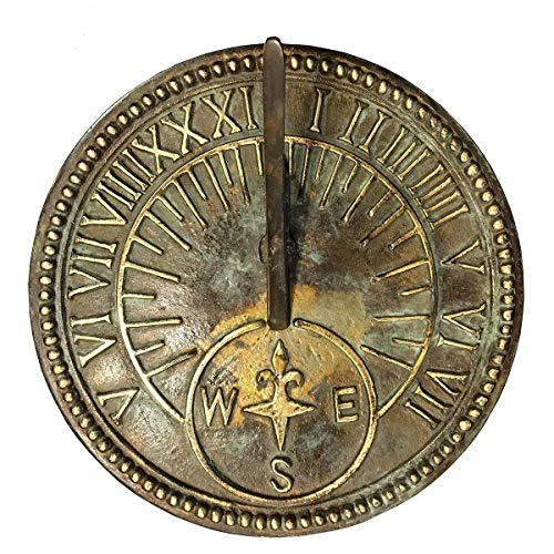ANTIQUECOLLECTION Roman Sundial, Solid Brass Light Verdi Highlights, 8-inch Diameter ()