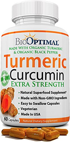 BioOptimal Organic Turmeric Capsules, 2 Month Supply, Turmeric Curcumin Supplement, Organic Turmeric with Black Pepper, Non-GMO, Extra Strength, Joint Pain Relief, 1 Daily, 60 Turmeric Pills