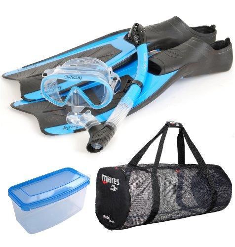 Aeris Velocity Full Foot Fins Mask Snorkel Scuba Gear Set, LG