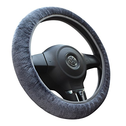 Tianmei Soft Wool Cashmere Imitation Winter Car Stretch-On Steering Wheel Cover (Plush Gray – Diameter 13.7in-15.7in)