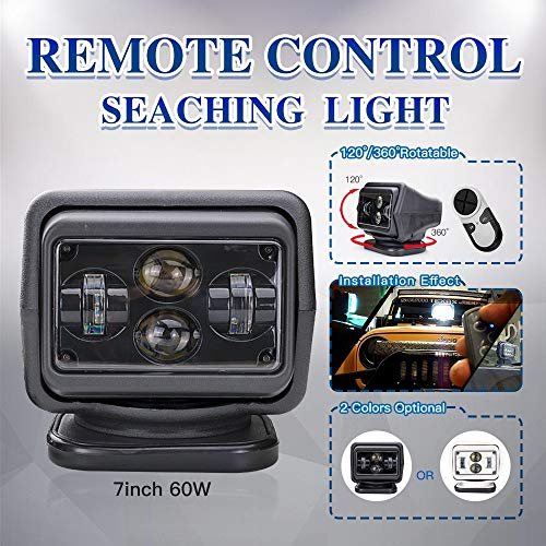 (morovan New 60W 7 inch Wireless Led Marine Search Light with Cree Chips LED Search Light Remote Control Spot Light Car LED Work Lights (Black) ...)