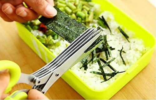Topoko Multipurpose Herb Scissors 5-Layers Scissors Stainless Steel Blades with Cleaning Comb for Kitchen & Office